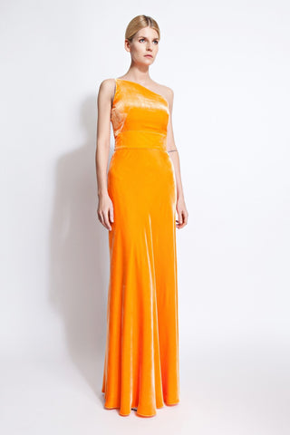 Lauren Velvet One-Shoulder Dress