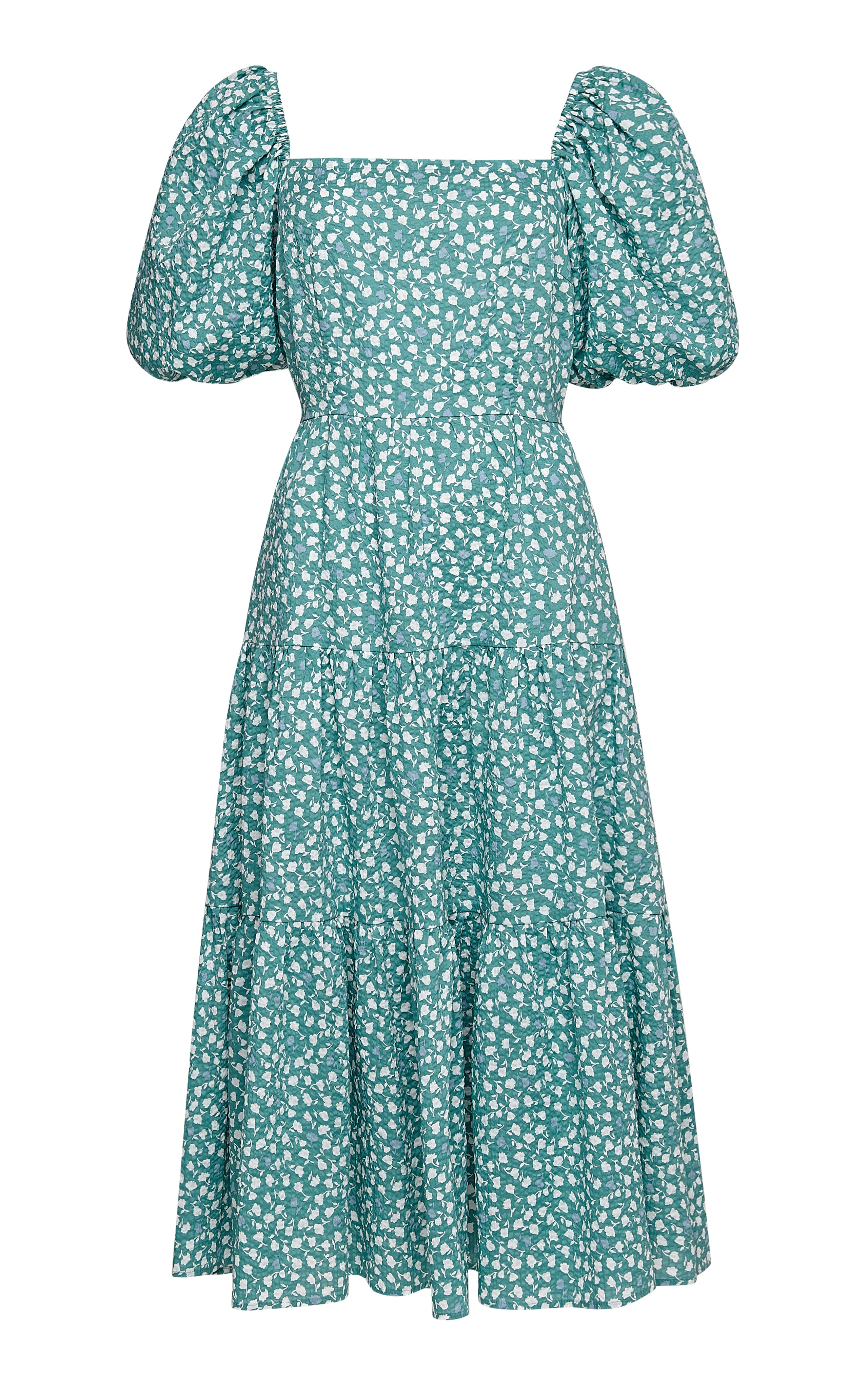 Juulika Cotton Dress with Puff Sleeves