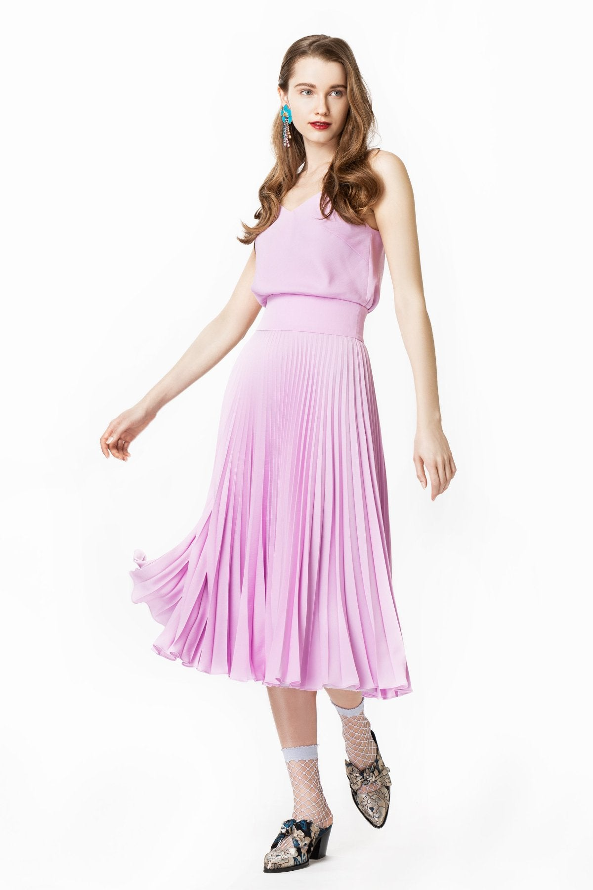 Aurelia Pleated Midi Dress with Straps