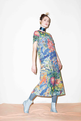 Flora Wool Crepe T-shirt Dress