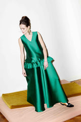 Dana V-neck Silk Blend Maxi Dress
