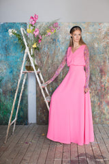 Alicia Crepe V-Neck Maxi Dress