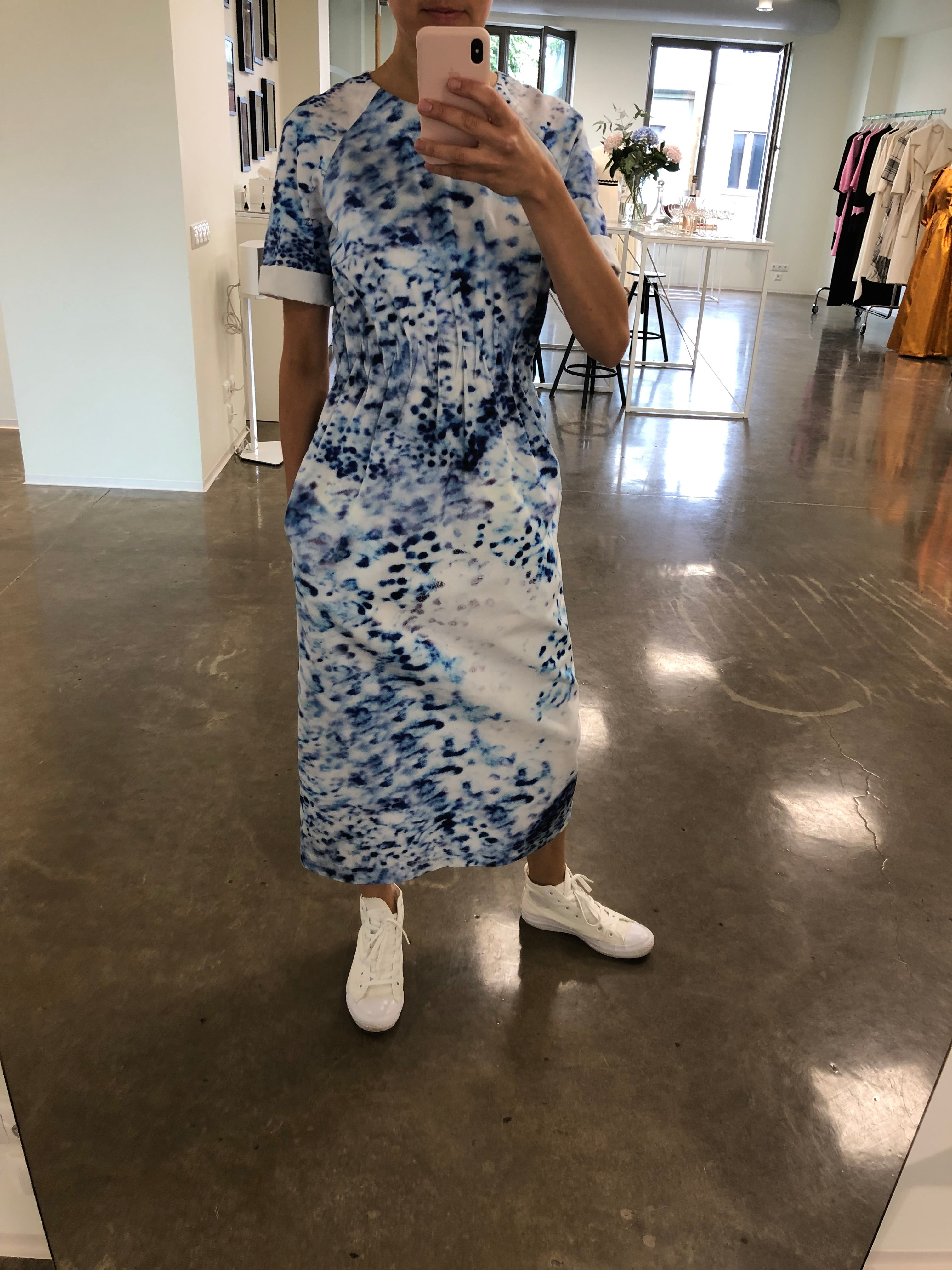 Maj Porcelain Column Cotton Dress with Side Pockets