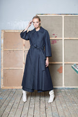 Indre Denim Maxi Coat with Patch Pockets