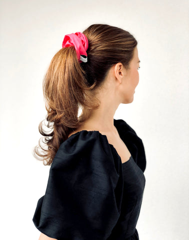 Pink Silk Blend Scrunchie in a Pouch Bag