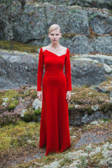 Anna Red Crepe Gown