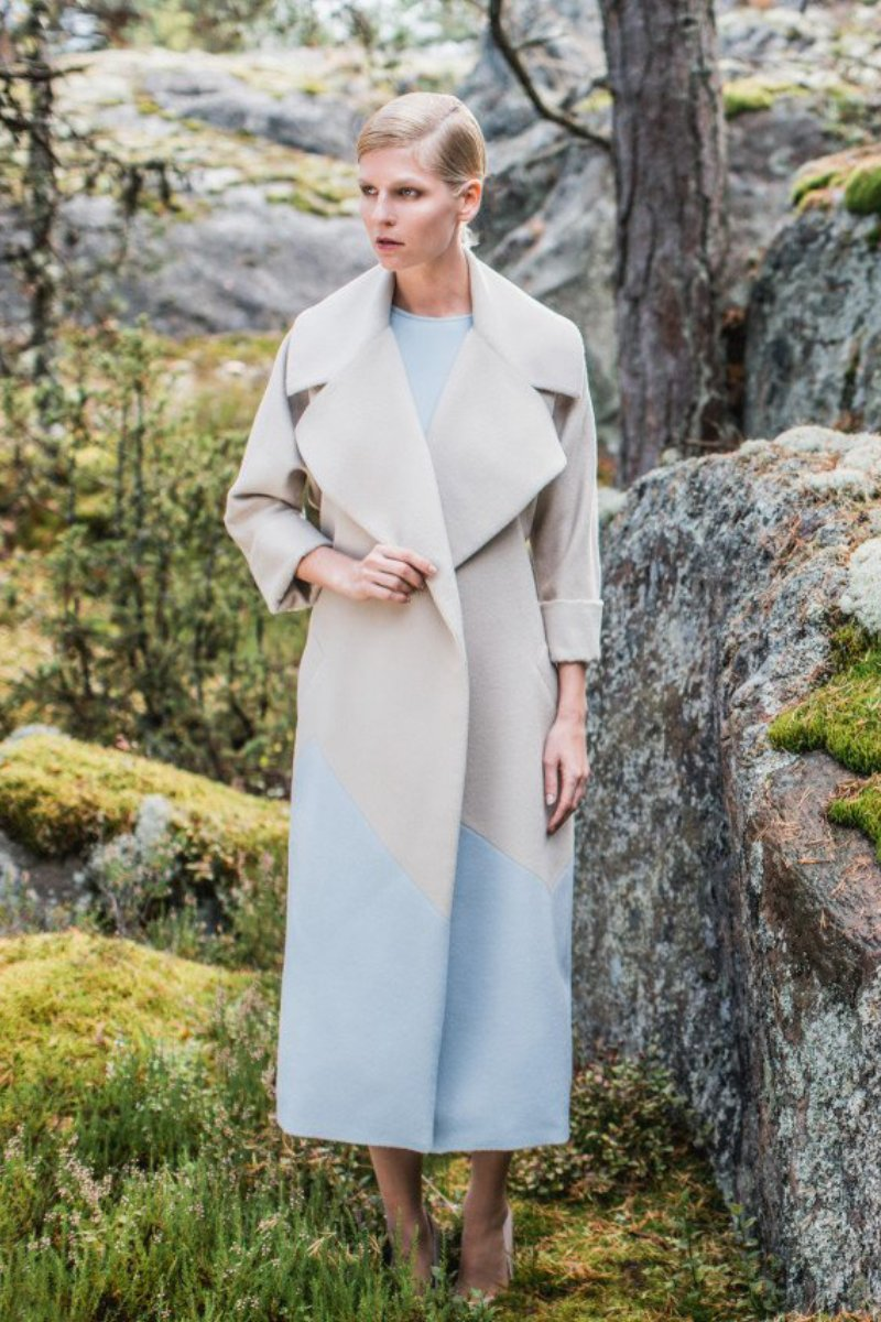 Alma Two-Tone Alpaca Coat