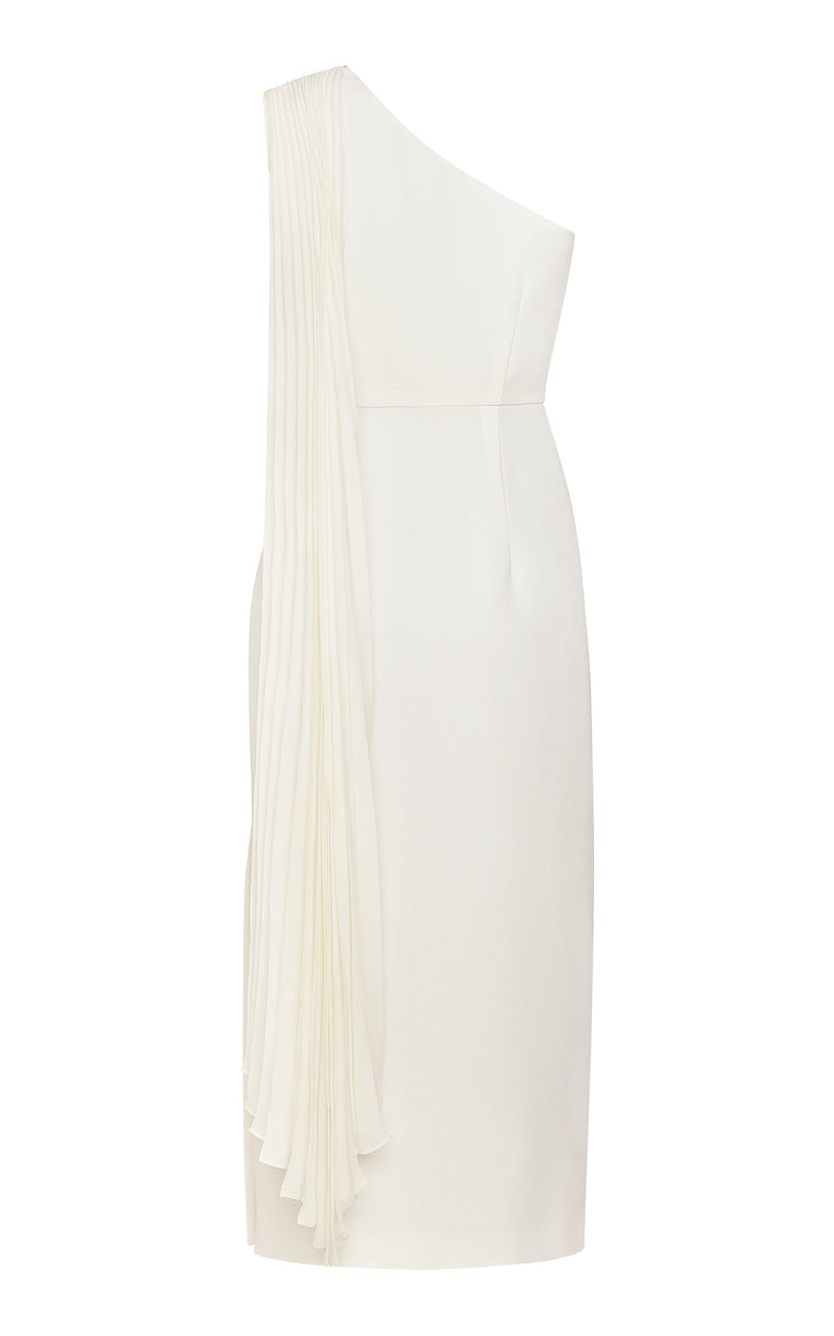 Perla Asymmetric Midi Dress with Side Slit and Pleated Throw