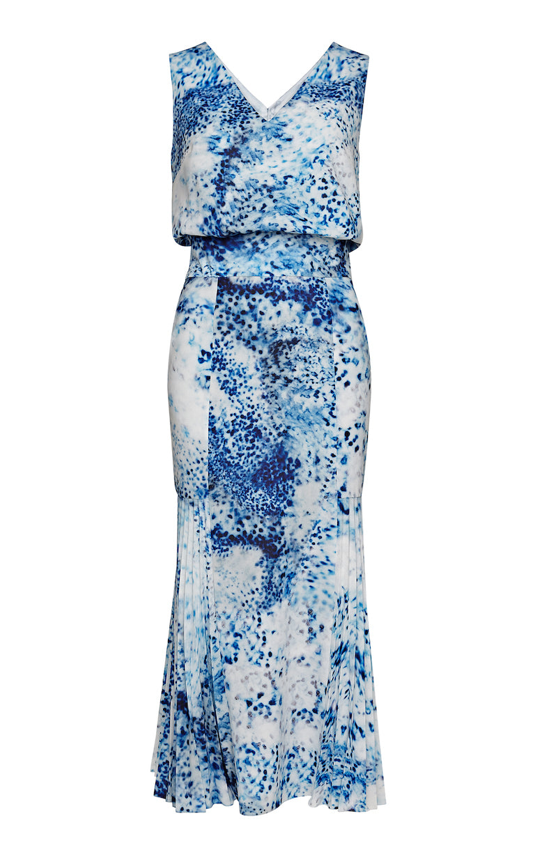 Keira Porcelain V-neck Midi Dress with Pleated Godet