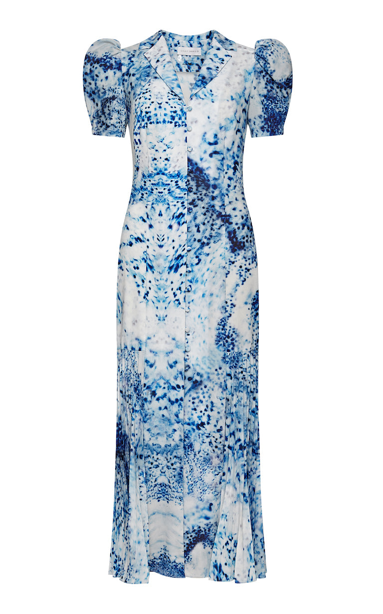 Laurina Porcelain Print Button-up Midi Dress