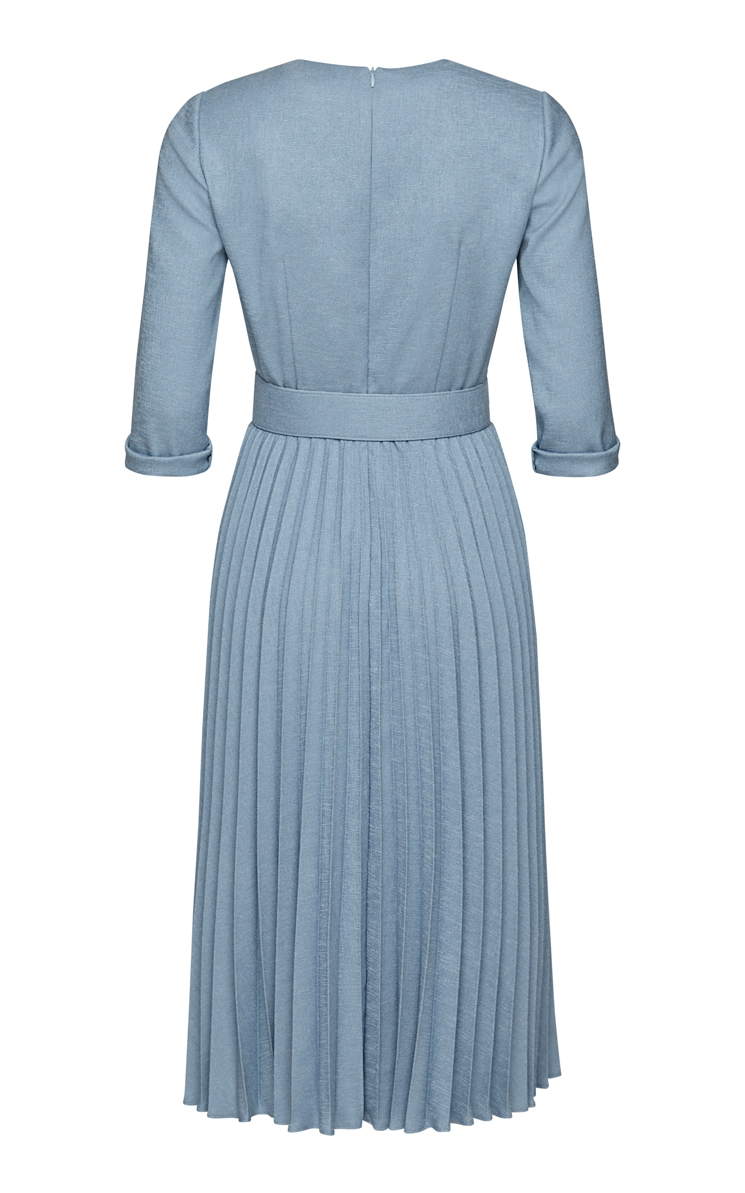 Ronja Pleated Midi Dress with Button Closure and Belt