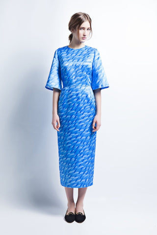 Blue Midi Column Dress with Bell Sleeves