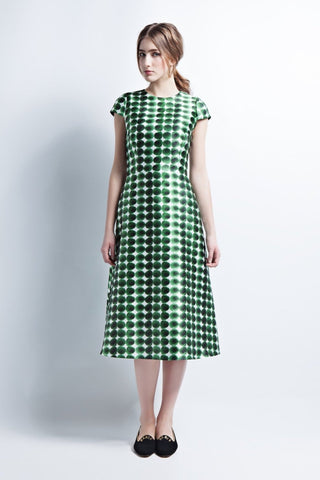 Green A-Line Dress with Cap Sleeves