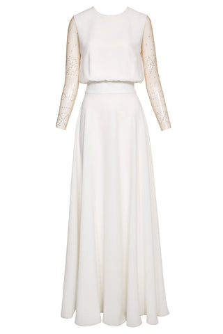 Freya Crepe Gown with Embellished Sleeves