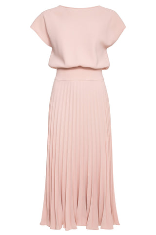 Ariana Crepe Sun-Ray Pleated Midi Dress
