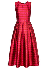 Red Midi Dress with Box Pleats and Side Pockets