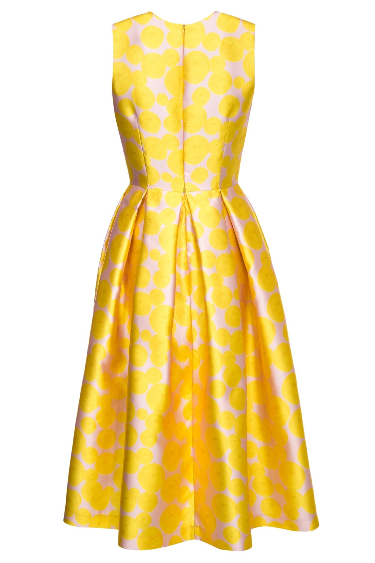 aa2247df387 Yellow Midi Dress with Box Pleats and Side Pockets – Lilli Jahilo
