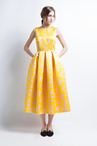 Yellow Midi Dress with Box Pleats and Side Pockets
