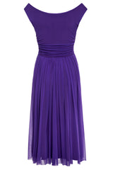 Violet Mesh and Jersey Dress