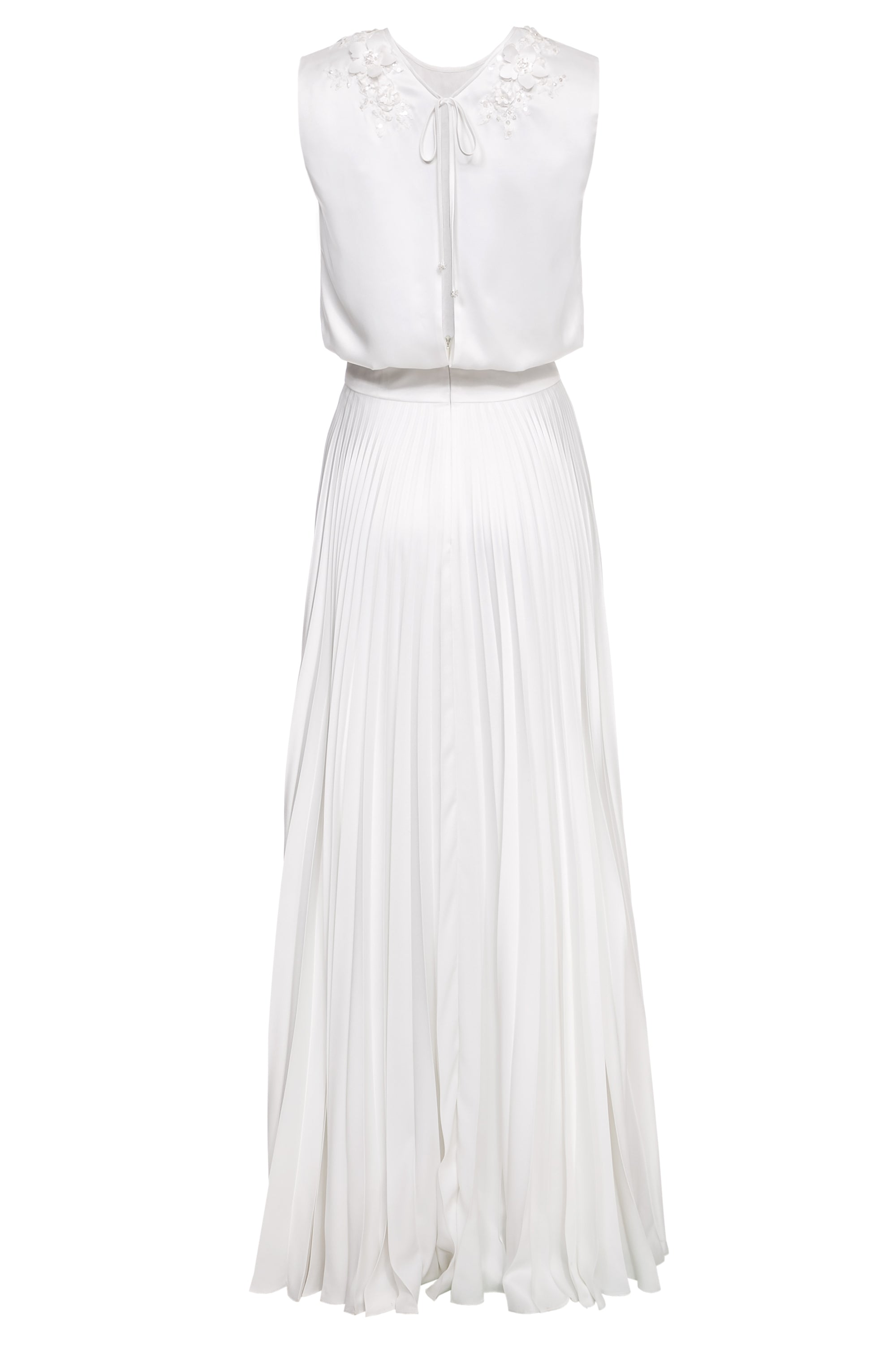 Iris Pleated Maxi Dress with Lace Appliqué