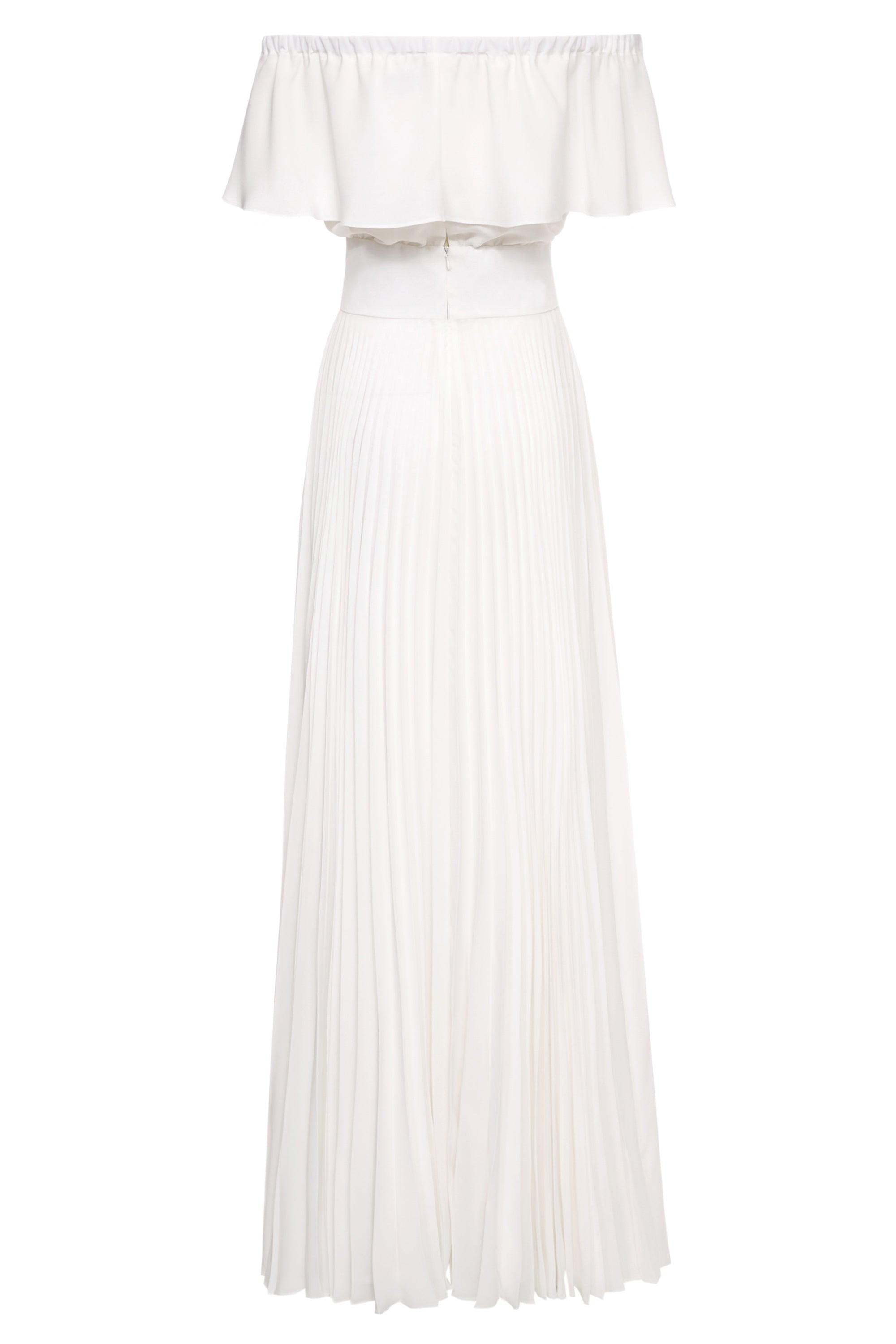 White Pleated Maxi Dress