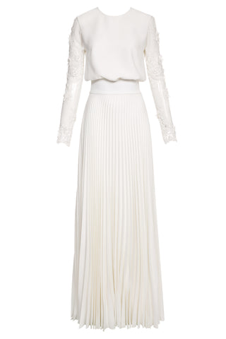 Irma Pleated Maxi Dress with Lace Sleeves