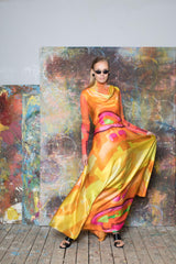 Anouk Silk Maxi Dress with Cowl Neckline