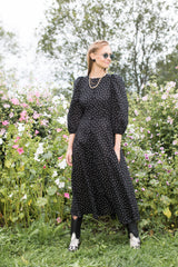 Lotta Cotton Dress with Round Neckline and Puff Sleeves
