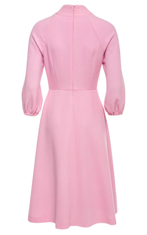 Amanda Bishop Sleeve Wool Crepe Midi Dress