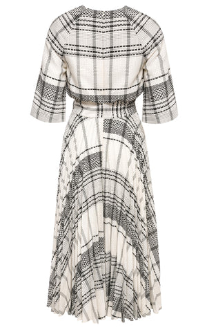 Pippa Plaid Midi Dress with Soleil Pleats and Pockets
