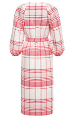 Bobbi Puff Sleeve Straight Cut Dress with Buttons