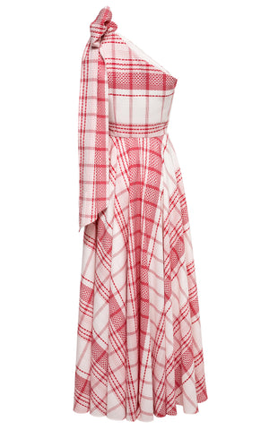 Melody One-Shoulder Plaid Gown with Pockets