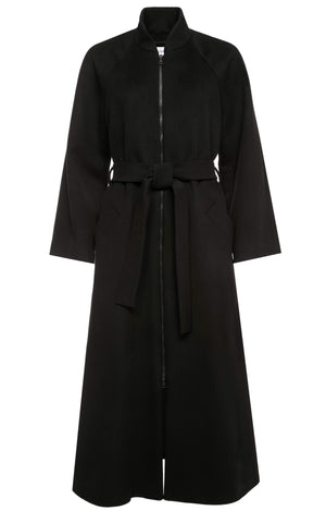Ines Wool Maxi Coat with Raglan Sleeves and Belt