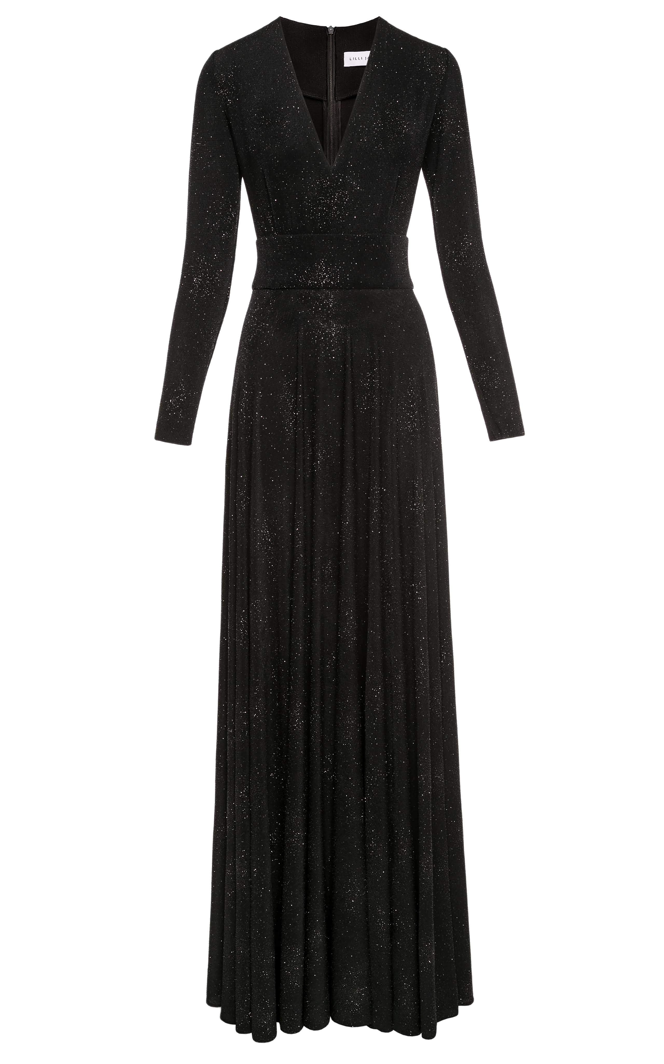 Star Glitter Jersey Long Sleeve Gown