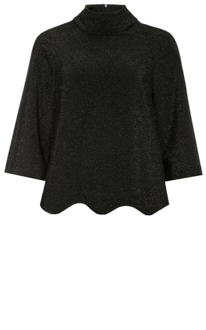 River Shimmer Jersey Top with Wave Hemline