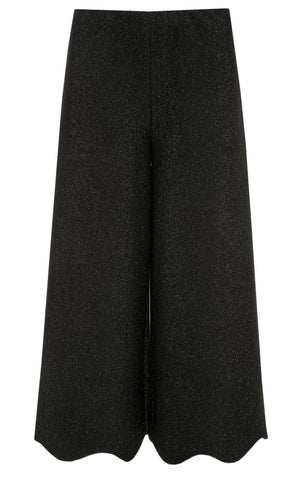 Rim Shimmer Jersey Culottes with Wave Hemline