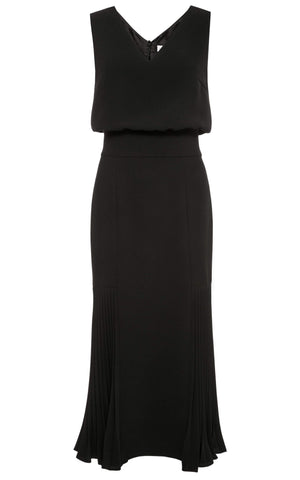 Keira V-neck Midi Dress with Pleated Godet