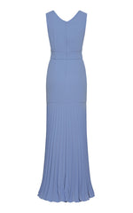 Alva Crepe Gown with Pleated Godet
