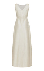Manon Silk Blend Gown with Ribbon Embellishment