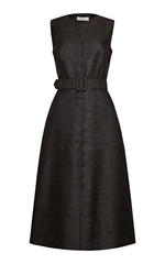 Winslet Silk Blend Button-up Dress with Belt