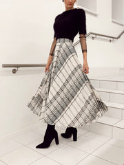 Glacier Plaid Skirt with Pockets
