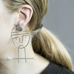 Portraiture Silver Earrings