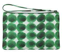 Green Dotted Silk Blend Pouch