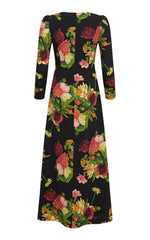 Dahlia Print V-neck Wool Crepe Long Sleeve Maxi Dress