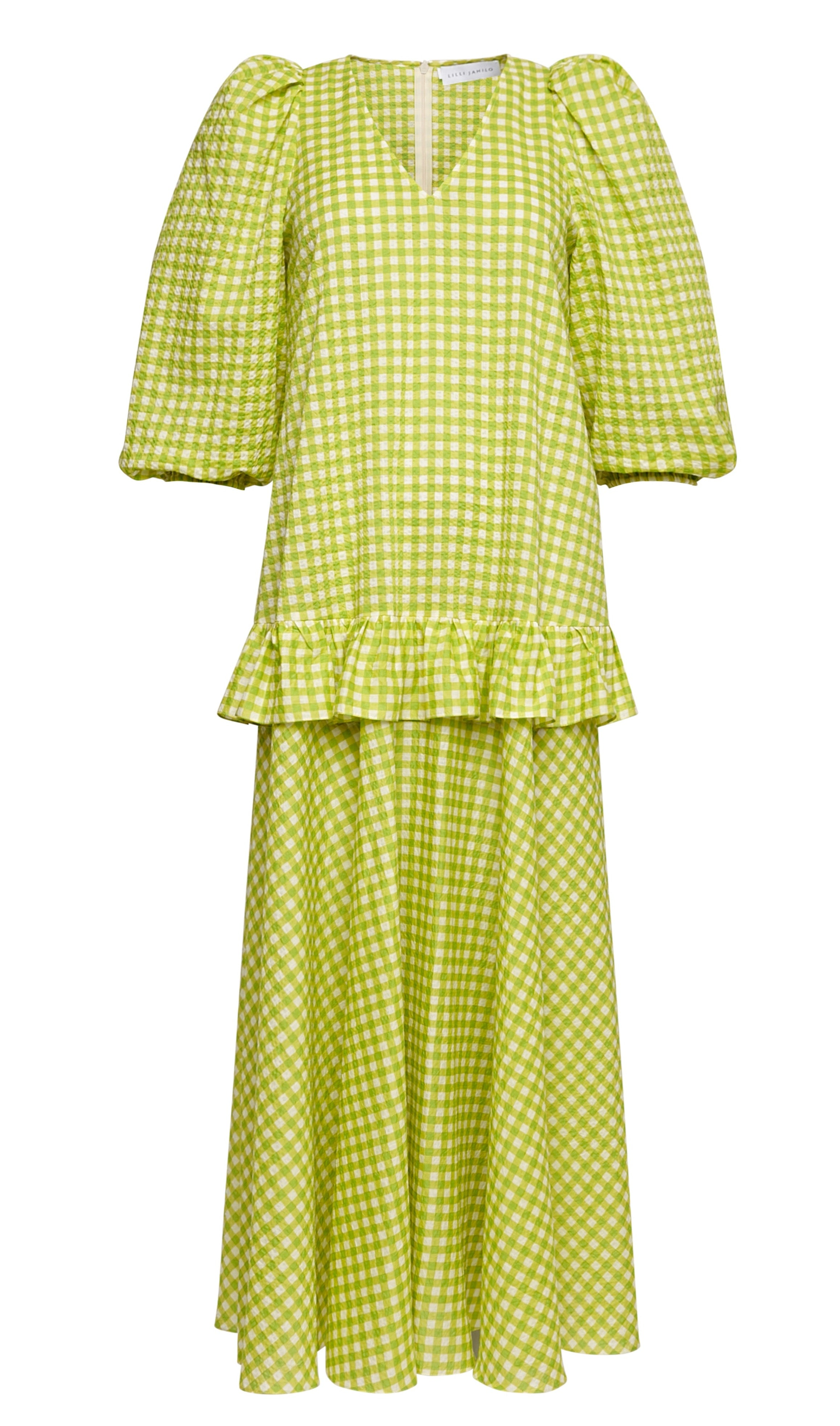 Dana Cotton Seersucker Dress with Sleeves