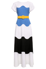 Signe Tri-Color Wool Crepe Gown with Elongated Sleeves