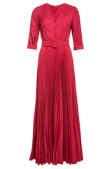 Ronja Pleated Gown with Button Fastening and Belt