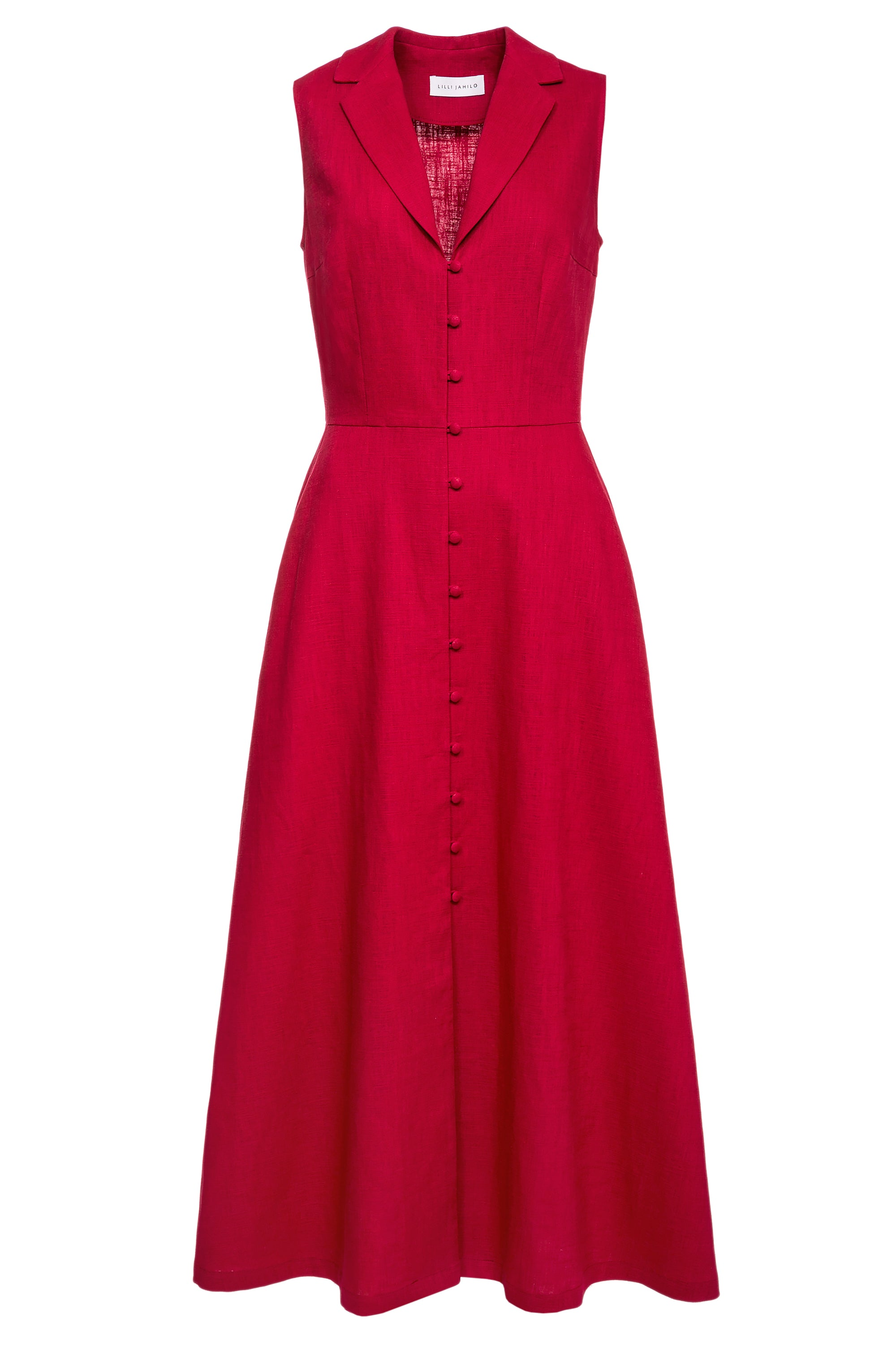 Harriet Linen Midi Dress with Collar