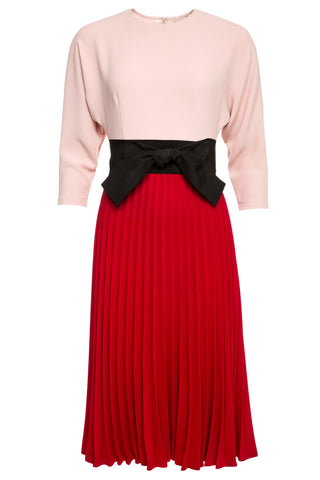 Eloise Dolman Sleeve Pleated Midi Dress with Belt