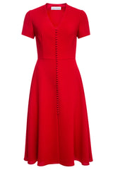 Sonja Red Buttoned Midi Dress